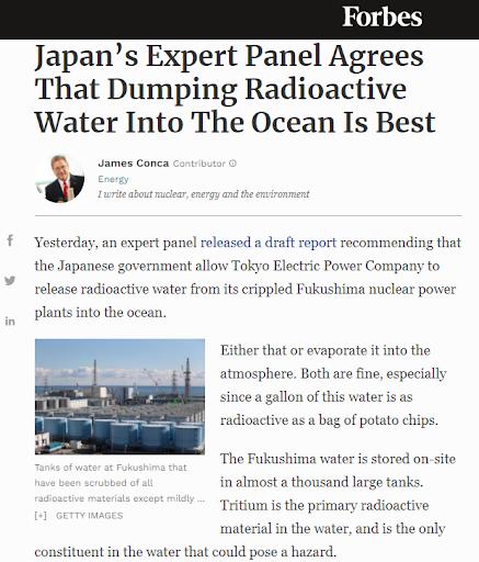 《富比世雜誌》報導日本認為將輻射污染的水倒入海中是最佳方案。(林琬寧提供)