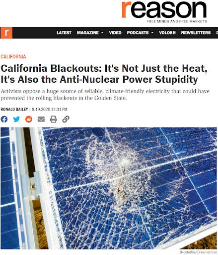 加州大停電:不僅僅是熱浪來襲,更是因為反核的愚蠢。(林琬寧提供)