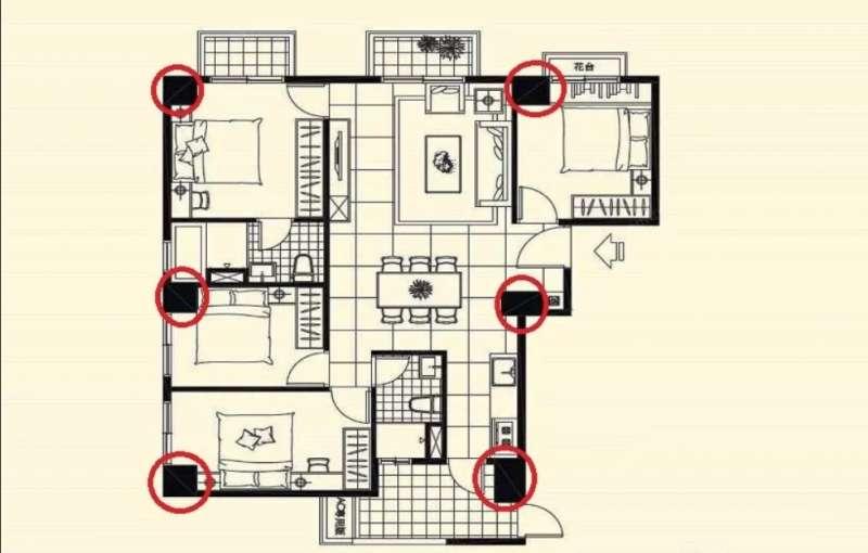 03樑柱(紅框處)在內,容易吃掉室內面積,使使用空間大打折扣。(圖/591房屋交易網提供)