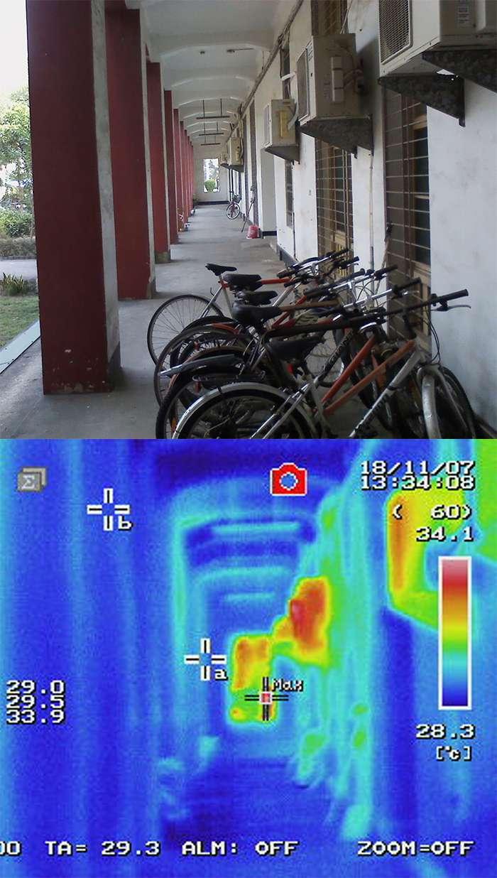 20200906-走廊上的冷氣室外機與熱感應圖。(林子平提供/影像合成:風傳媒)