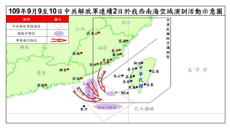 20200910-中共軍機連2天在我西南空域現蹤,我方全面監控共機動態。(國防部提供)