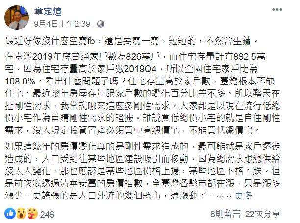 章定煊於臉書po文,指出房價上漲的原因。(翻攝自章定煊臉書)