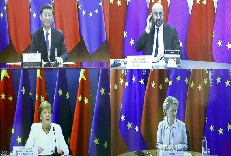 歐盟輪值主席國德國總理梅克爾、歐盟執委會主席馮德賴恩、歐洲理事會主席米歇爾14日與中國國家主席習近平舉行視訊峰會。(美聯社)