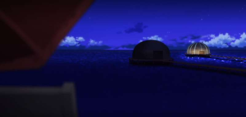 暗殺教室第17話的普久間島,意外的與Apple新加坡新的直營門市極其相似。(圖/截自Netflix)