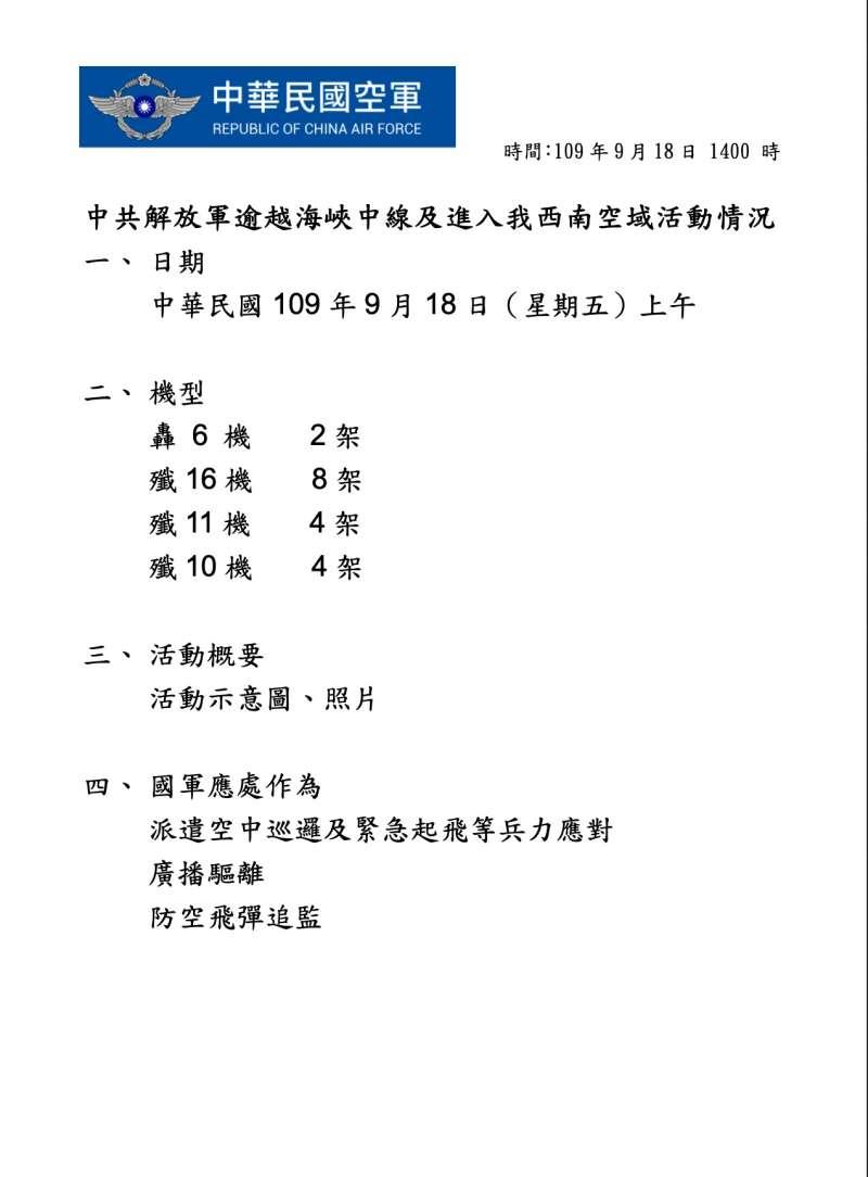 中華民國空軍對共軍軍機在我國西南空域的活動監測公告。(空軍司令部)