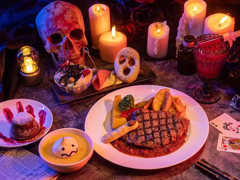 全台唯一惡靈餐廳經典「膽顫魂飛特餐」不吃不可,讓您挑戰視覺、味覺全新體驗。(六福村提供)