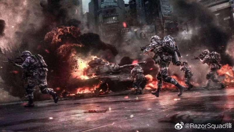 四川美術學院軍武迷拍攝後製的《武力统一》的概念圖。(翻攝微博)