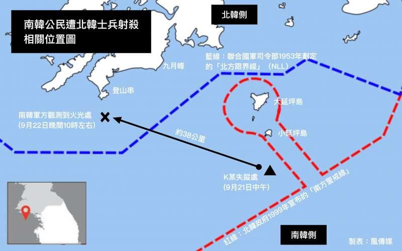 南韓公民遭北韓士兵射殺相關位置圖