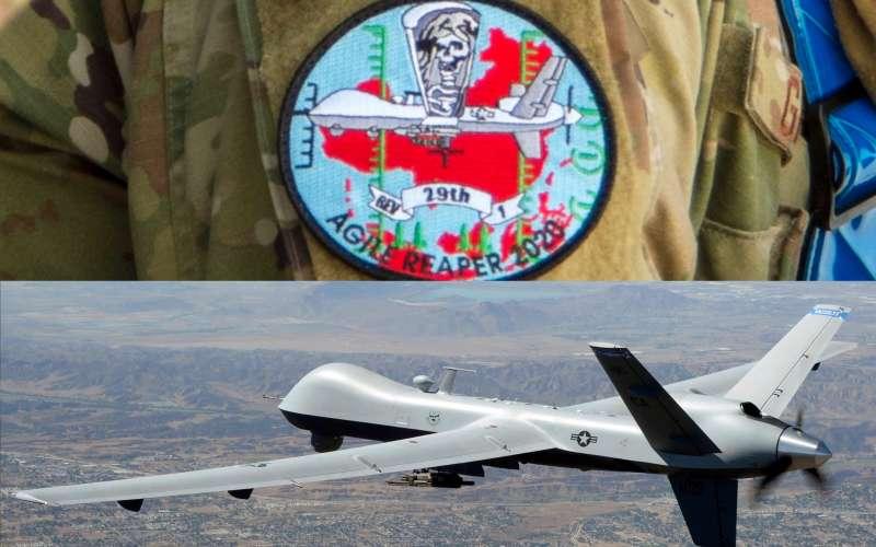 美軍在最近一次演習中設計了專屬臂章,上面的圖樣除了MQ-9「死神」無人機,背景竟然是紅色的中國剪影,顯然演習的假想敵就是共產中國。