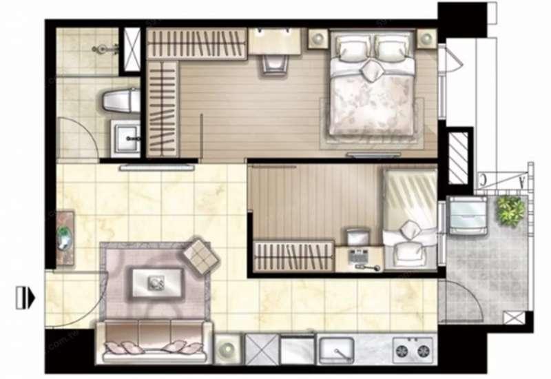 客廳若是沒有對外窗,就建議避免選擇過於狹長的格局,否則將增加通風的困難度。(圖/591房屋交易網提供)
