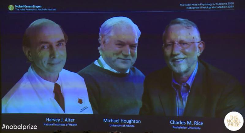 2020年諾貝爾生理學或醫學奬3位得主(截自YouTube)