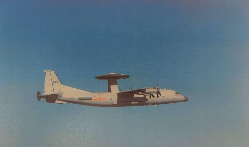 20201007-空軍司令部7日晚間證實,有共機1架次在我西南空域現蹤,機型為屬預警機的「空警500」。(空軍司令部提供)
