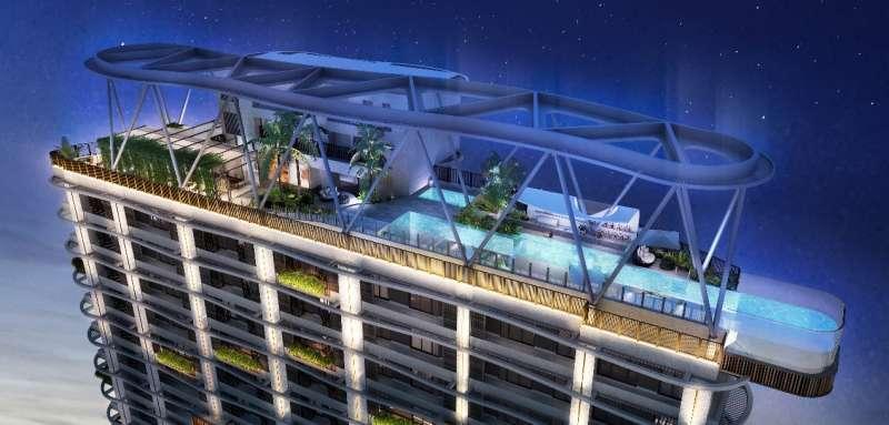 「富旺天際W ONE」頂樓有個突出結構體外5米的凌空泳池,造價逾5千萬,底部採透明設計。(圖/富比士地產王提供)