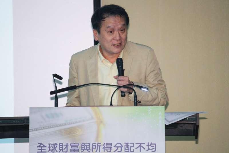 20201023-中經院舉行「全球財富與所得分配不均」研討會,圖為主講人中研院朱敬一院士。(蔡親傑攝)