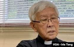 天主教香港教區榮休主教陳日君接受美國之音訪問。(美國之音)