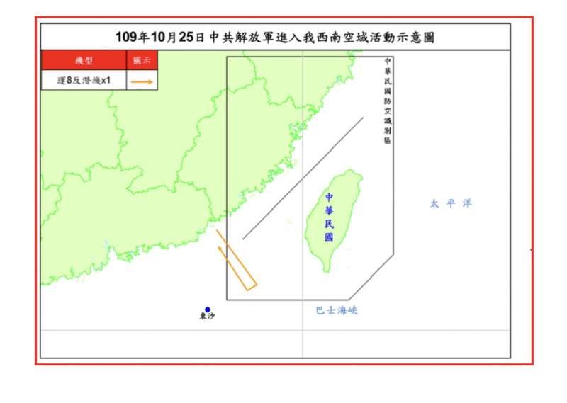 20201025-空軍司令部稍早證實,25日下午1架中共運8反潛機進入我西南防空識別區內 。(空軍司令部提供)