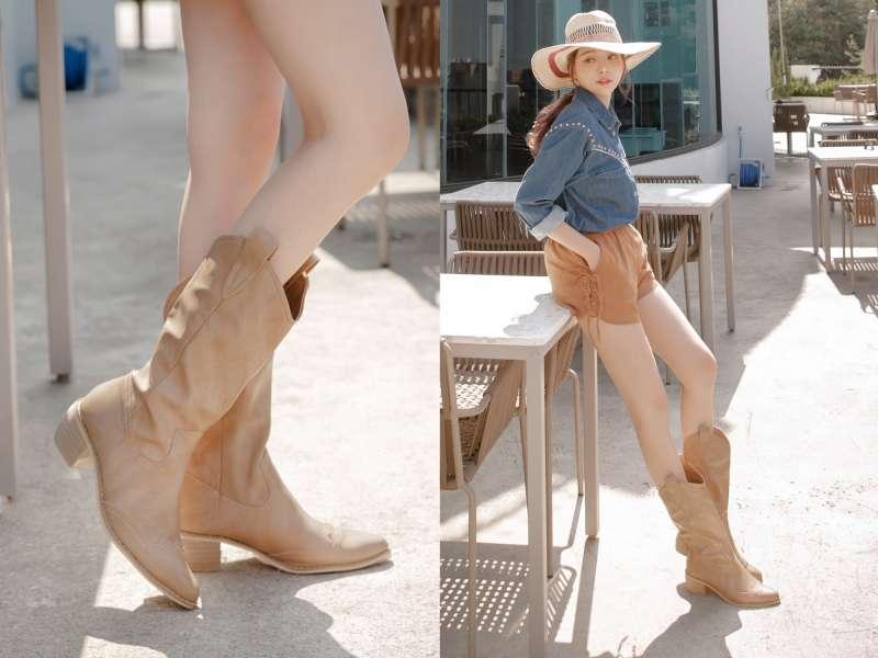 FMshoes透露,奶茶色中筒靴修飾腿型效果最佳,是秋冬熱銷鞋款