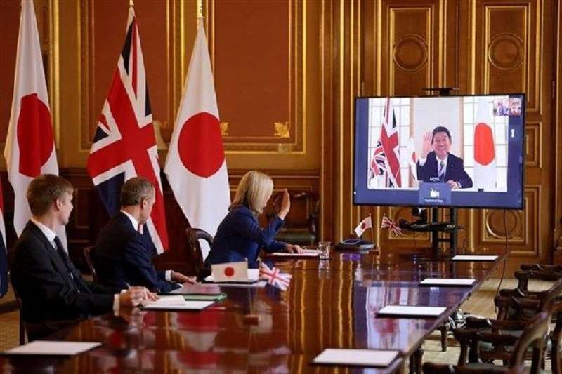 英日兩國九月間視訊會議,敲定「英日全面經濟夥伴關係協定」。(取自英相強生臉書)