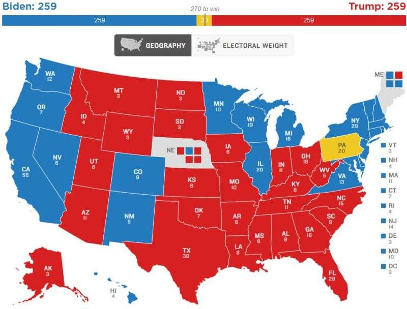 美國全國公共廣播電台(NPR)「最終版選舉人團地圖」,賓州決定版(NPR)