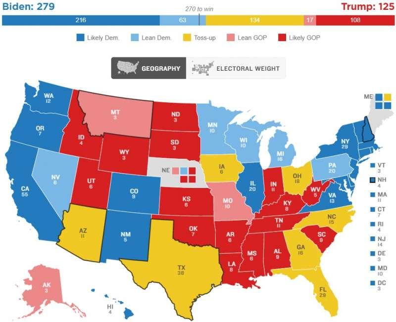 美國全國公共廣播電台(NPR)「最終版選舉人團地圖」,7個搖擺州版(NPR)