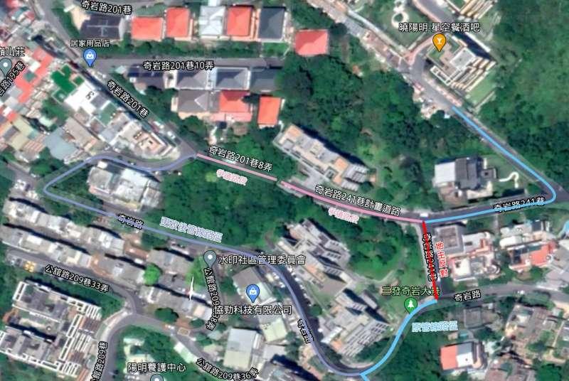 建商施工管線路徑。(影像翻攝自google map,製圖/風傳媒)