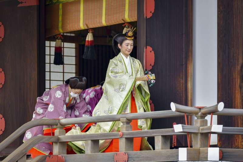 日本8日舉行「立皇嗣之禮」,秋篠宮文仁親王妃紀子。(AP)