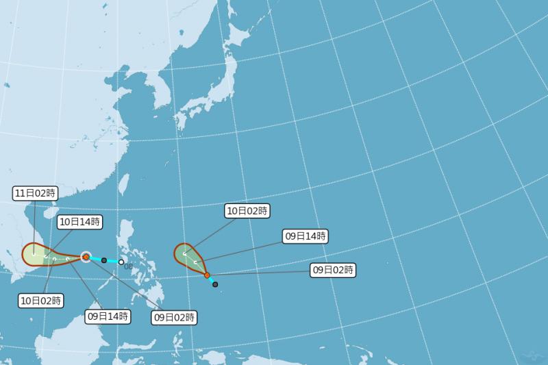 2020第21號颱風「艾陶」生成。(圖/取自中央氣象局)