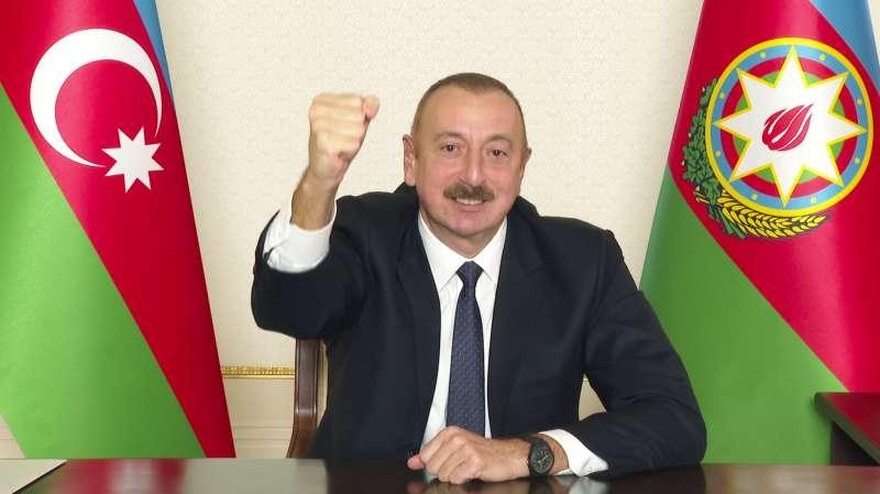納哥諾卡拉巴克(納卡)停火:亞塞拜然總統阿利耶夫(AP)