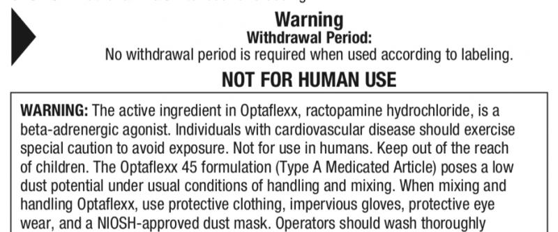 20201114-美國製藥公司Elanco的萊克多巴胺使用標籤,寫著「施用期間無停藥期」(No withdrawal period is required when used according to labeling.)