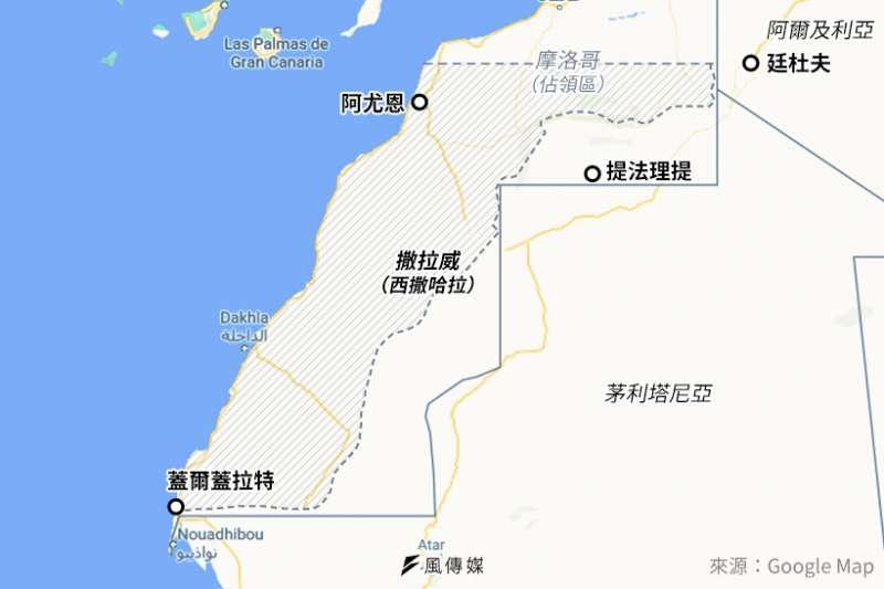西撒哈拉(撒拉威)現況地圖(風傳媒製圖)