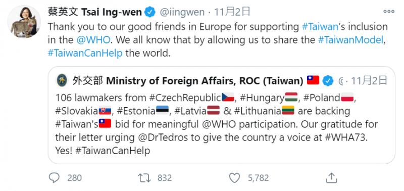 總統蔡英文在推特上,感謝來自歐洲的國會議員聲援台灣參與世界衛生組織。(取自總統蔡英文推特)