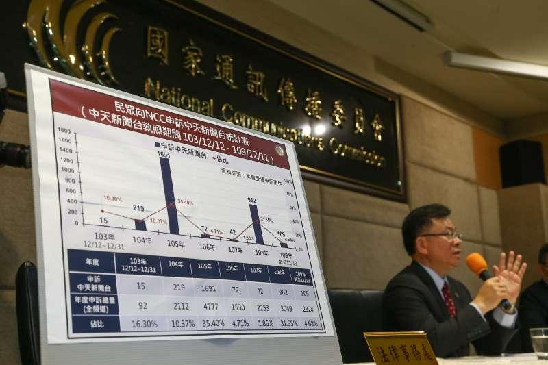 20201118-NCC主委陳耀祥18日針對中天新聞台是否續照,召開記者會說明。(顏麟宇攝)