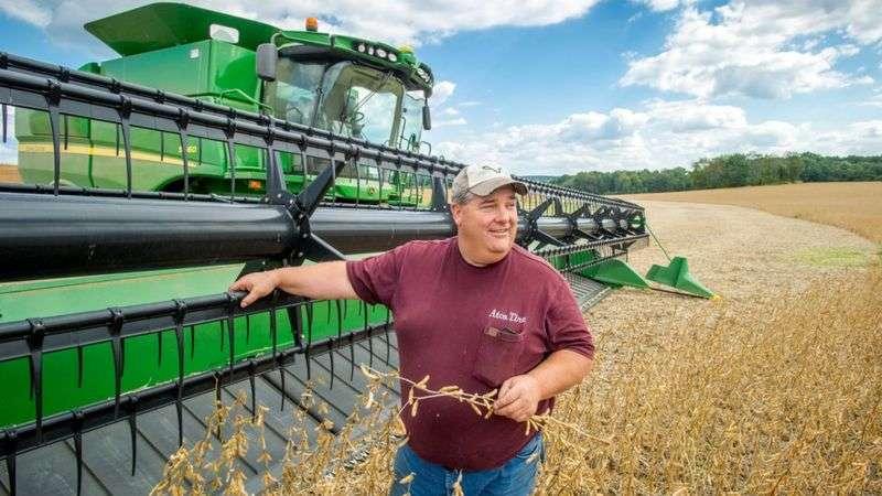 貿易戰開始後,美國大豆出口量大幅下跌,價格也跌至10年來的最低點,這給中西部的農民造成巨大損失。(BBC News中文)