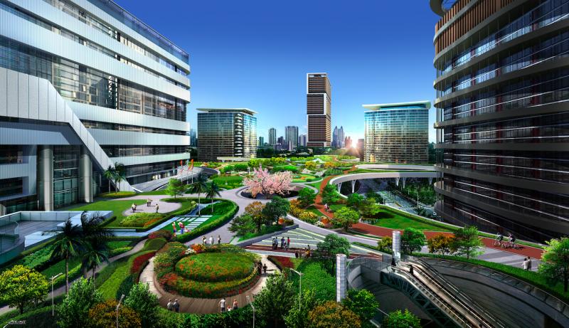 圖說:新高雄車站天棚上方將設置眺望廣場,供市民散步、騎自行車等活動、聚會空間。(圖/興富發博愛提供)