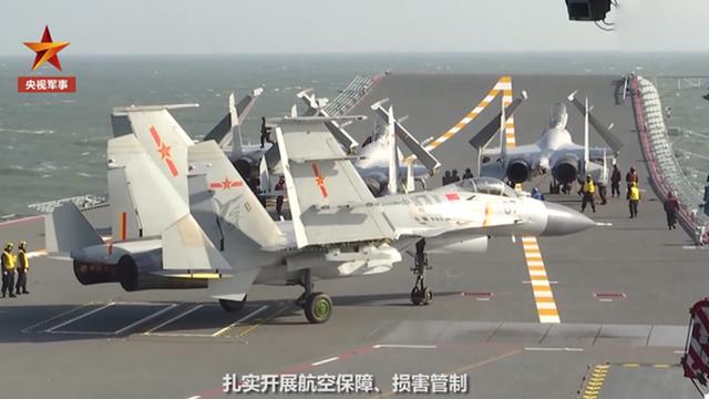 解放軍「山東號」航空母艦正在進行海上演練。(中國軍網)