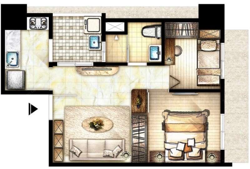 若小宅客廳無對外窗,採光就會不好。(圖/591房屋交易網提供)