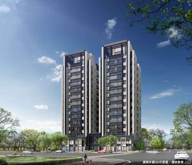 「惠國沐微風」打造大雅輕豪宅新高度,此為3D外觀示意圖。(圖/富比士地產王提供)