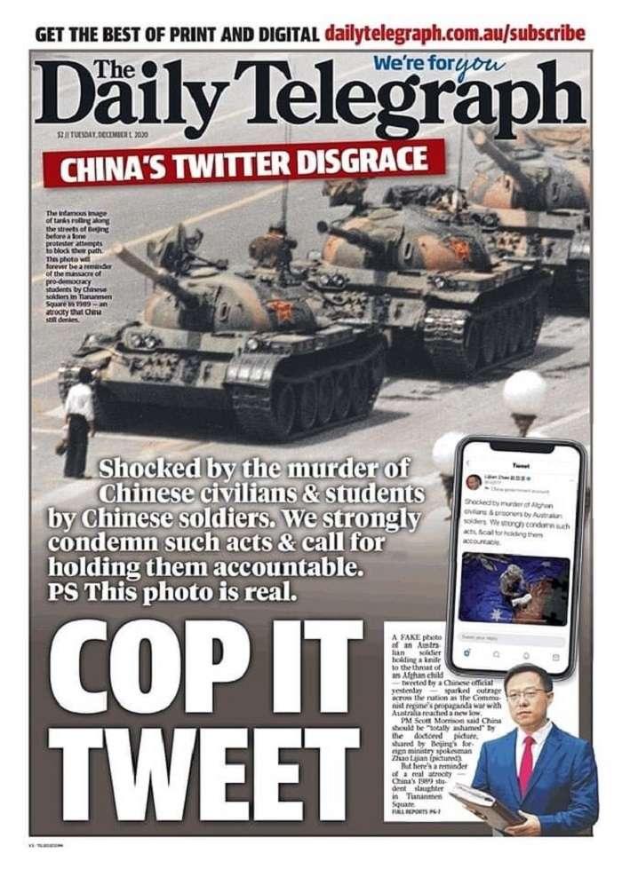 反击中国外交部发言人赵立坚的推文,澳洲每日电讯报1日头版刊出31年前天安门事件的「坦克人」照片,并强调照片是真的。(daily telegraph官网)
