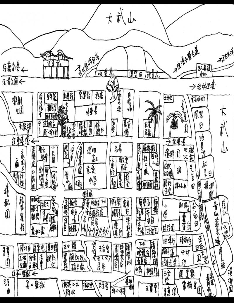 《大武山下》所收錄的龍應台手繪地圖。(作者提供)