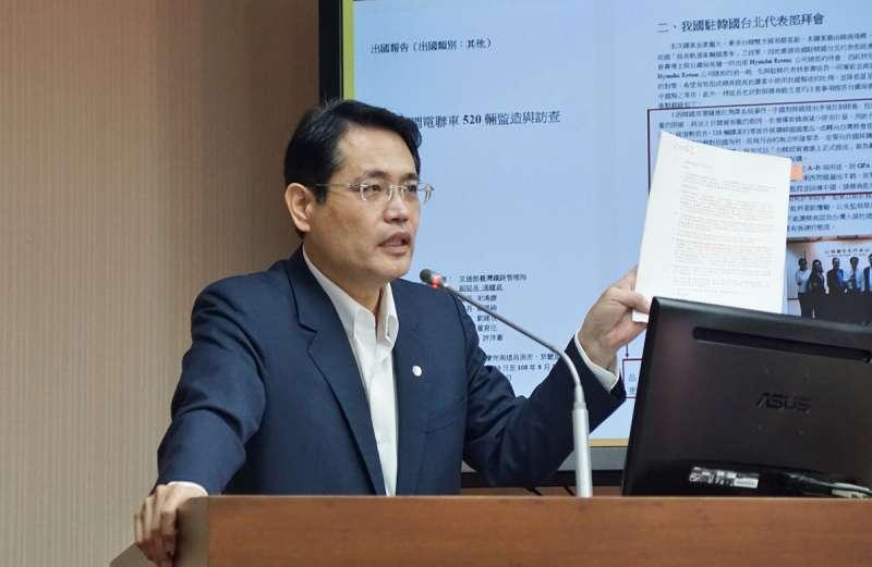 民進黨立委江永昌極力倡議「一行為一罰」。(盧逸峰攝)