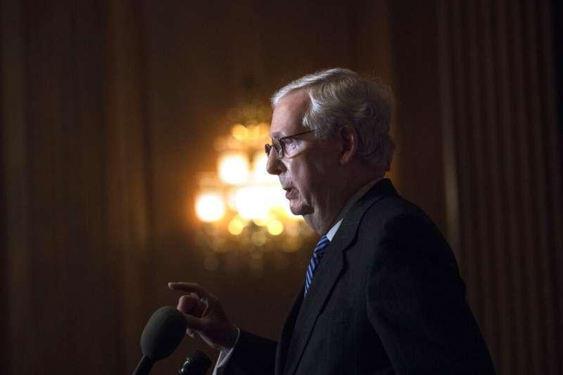 參議院共和黨領袖、肯塔基州聯邦參議員麥康奈爾(Mitch McConnell)。(美聯社)