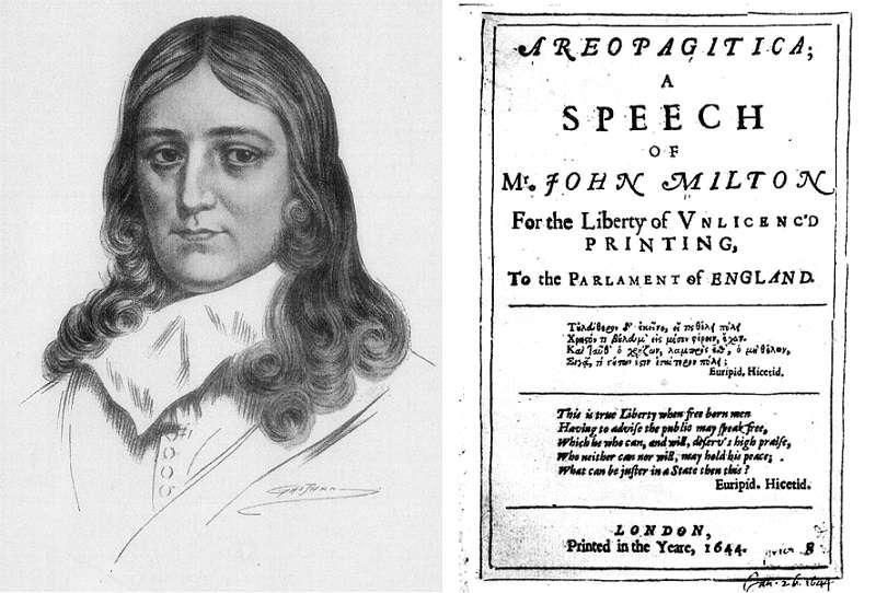 約翰·米爾頓(John Milton,1608年12月9日-1674年11月8日)和初版的《論出版自由》(維基百科)