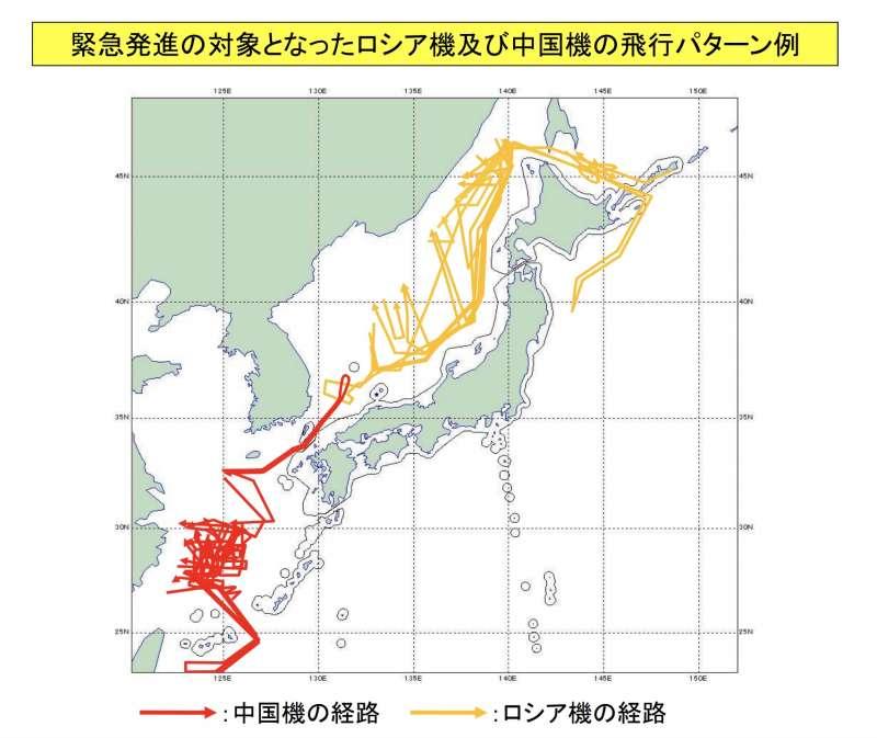 中國與俄羅斯軍機2020上半年在日本附近空域的活動紀錄。(自衛隊統合幕僚監部)