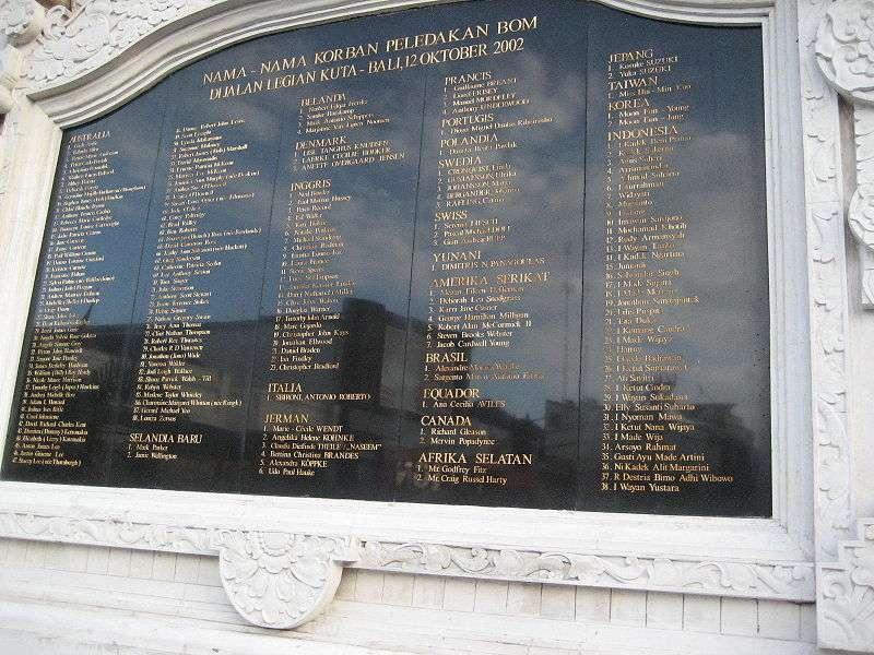 2002年峇里島爆炸案的罹難者名單與紀念碑。(維基百科公有領域)