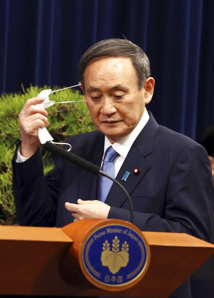 日本首相菅義偉4日召開記者會,表示正在考慮再度發布「緊急事態宣言」。(美聯社)