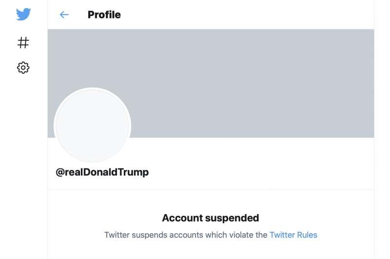 推特永久禁止美國總統川普的官方帳號。(AP)
