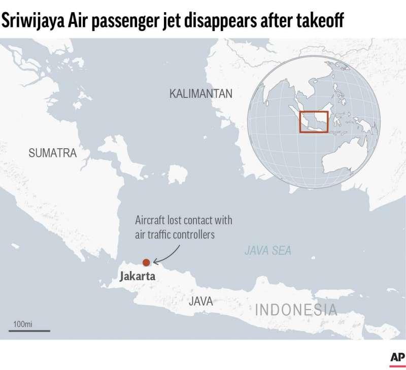 2021年月9日,印尼三佛齊航空一架客機宣告失蹤,專家研判已墜毀在首都雅加達西北方外海(AP)
