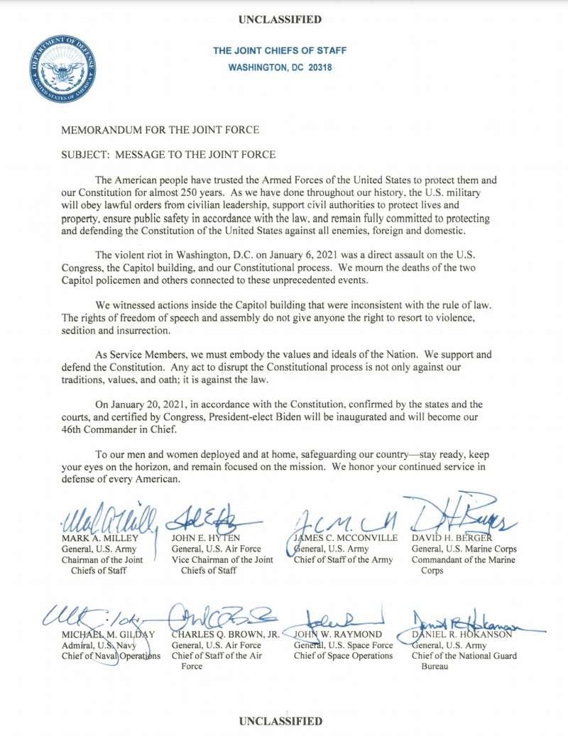 美軍參謀長聯席會議主席的聯名備忘錄。