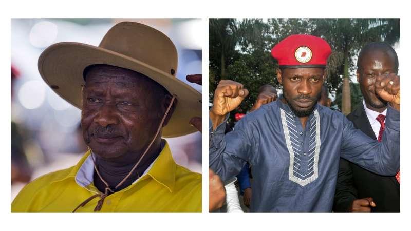 東非烏干達14日舉行總統大選,在位35年的現任總統穆塞韋尼(Yoweri Museveni)要拚六連任,面臨流行歌手出身、素有「街頭總統」稱號的鮑比韋恩(Bobi Wine)強力挑戰。(AP,風傳媒後製)
