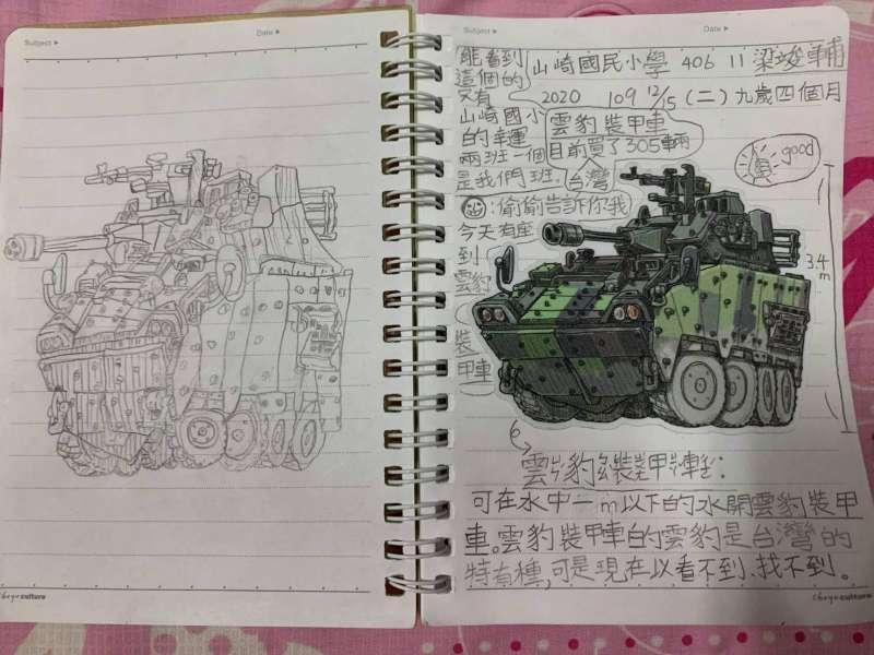 20210120-國小學童將臨摹甲車輪廓。(陸軍六軍團提供)
